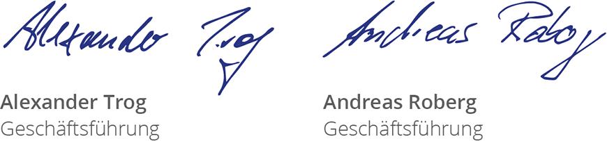 Unterschriften Geschäftsführung